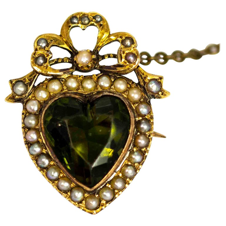 Edwardian 9 Carat Gold Green Paste and Pearl Heart Brooch For Sale