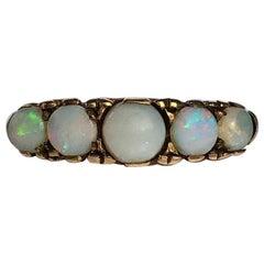 Edwardian 9 Carat Gold Opal Five-Stone Ring