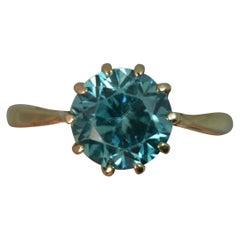 Edwardian 9 Carat Gold Solitaire Blue Zircon Ring