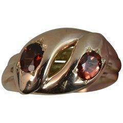 Edwardian 9 Carat Rose Gold and Garnet Double Snake Ring