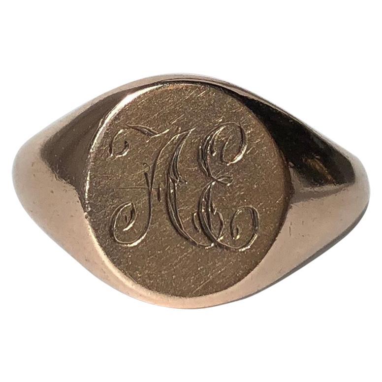 Edwardian 9 Carat Rose Gold Decorative Signet Ring