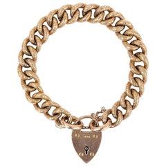Edwardian 9 Karat Rose Gold Chased Curb Large Link Bracelet, 1908, 26.3g