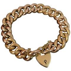Edwardian 9 Rose Carat Gold Chased Curb Bracelet