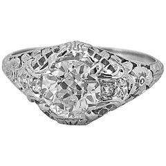 Edwardian .90 Carat Diamond Antique Engagement Ring Platinum