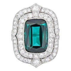 Edwardian 9.90 Carat Green Tourmaline Diamond Platinum Belle Époque Ring
