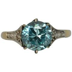 Edwardian 9 Carat Gold Platinum Blue Zircon Ring