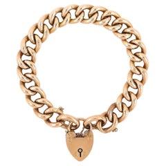 Edwardian 9ct Rose Gold Large Curb Link Bracelet, Circa 1909