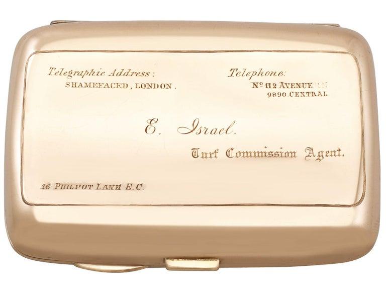 Edwardian 9-Karat Rose Gold and Enamel Cigarette Case For Sale 7