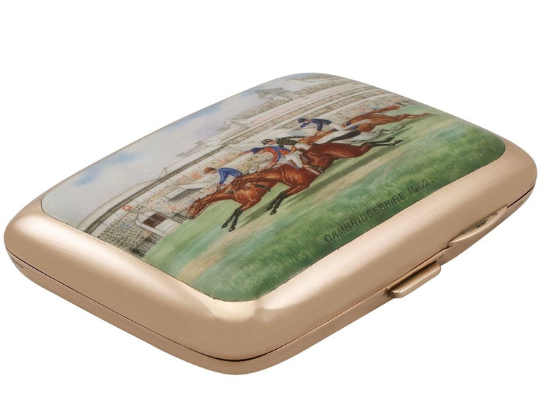 An exceptional, fine and impressive, rare antique Edwardian English 9-carat rose gold and enamel cigarette case; an addition to our diverse range of smoking related silverware.  This exceptional antique Edwardian 9ct rose gold cigarette case has a