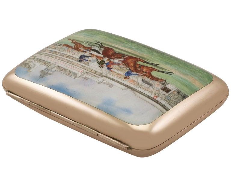 English Edwardian 9-Karat Rose Gold and Enamel Cigarette Case For Sale