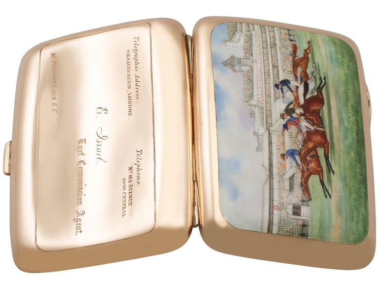 Edwardian 9-Karat Rose Gold and Enamel Cigarette Case In Excellent Condition For Sale In Jesmond, Newcastle Upon Tyne