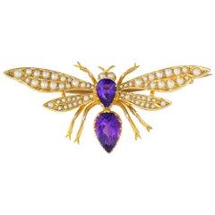 Edwardian Amethys and Pearl Dragonfly Brooch