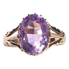 Edwardian Amethyst and 15 Carat Gold Ring