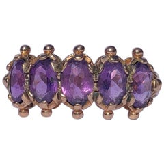 Edwardian Amethyst and 9 Carat Gold Five-Stone Ring