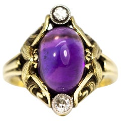 Edwardian Amethyst and Diamond 15 Carat Gold Ring