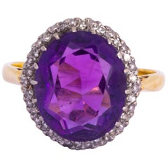 Edwardian Amethyst and Diamond 18 Carat Gold Cluster Ring