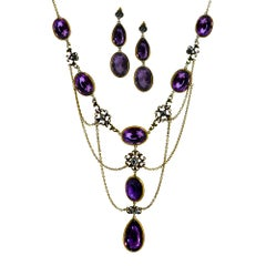 Edwardian Amethyst and Diamond Necklace and Earrings Set