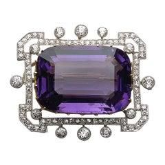 Edwardian Amethyst and Diamond Platinum Brooch