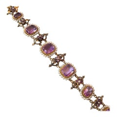 Edwardian Amethyst and Pearl 18 Carat Gold Bracelet