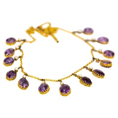 Edwardian Amethyst and Pearl 9 Carat Gold Necklace