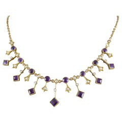 Edwardian Amethyst and Pearl Necklace in Yellow Gold
