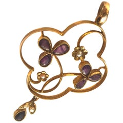 Edwardian Amethyst and Seed Pearl 9 Carat Gold Pendant