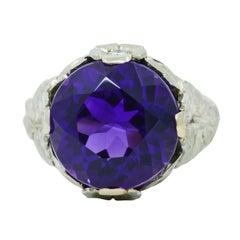 Edwardian Amethyst Diamond 18 Karat White Gold Floral Cocktail Ring