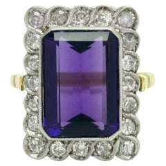 Edwardian Amethyst Diamond Engagement Ring Emerald Cut 6.50 Carat Cocktail Halo
