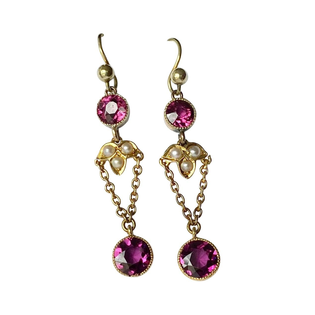 Edwardian Amethyst, Pearl and 9 Carat Gold Drop Earrings