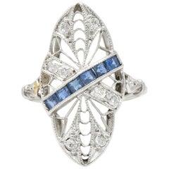 Edwardian 0.55 Carat Diamond Sapphire Navette Dinner Ring