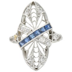 Edwardian Antique 0.55 Carat Diamond Sapphire Shield Navette Ring