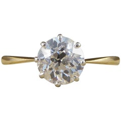 Edwardian Antique 1.40 Carat Diamond Solitaire 18 Carat Gold, Platinum Ring