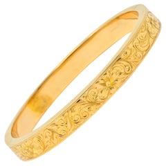Edwardian Antique 18 Karat Gold Floral Bangle Bracelet