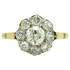 Edwardian Antique Diamond Engagement Ring 1900s Victorian Cluster 18 Karat Gold