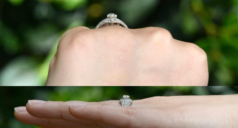 Old Mine Cut Edwardian Antique Diamond Engagement Ring Filigree Platinum Estate Heirloom For Sale