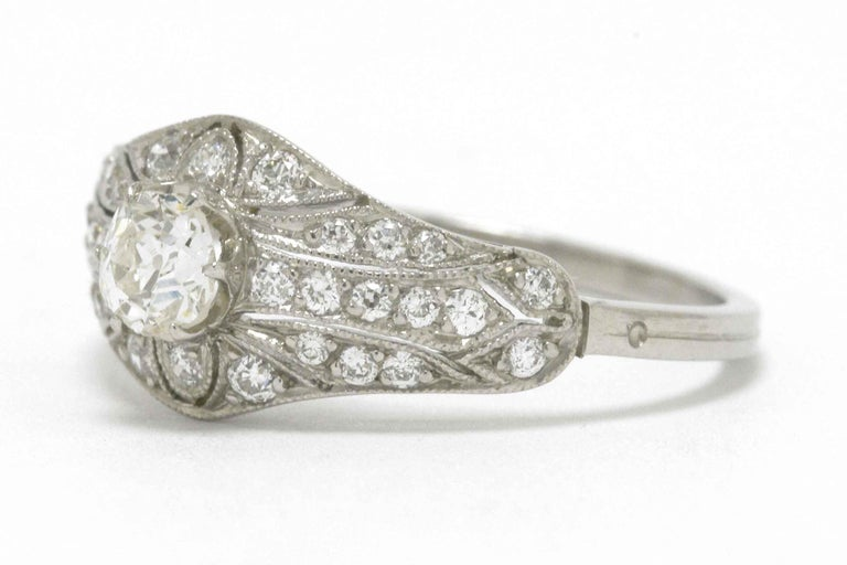 Edwardian Antique Diamond Engagement Ring Filigree Platinum Estate Heirloom In Good Condition For Sale In Santa Barbara, CA