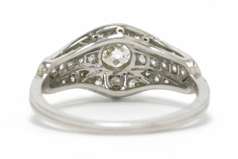 Women's Edwardian Antique Diamond Engagement Ring Filigree Platinum Estate Heirloom For Sale