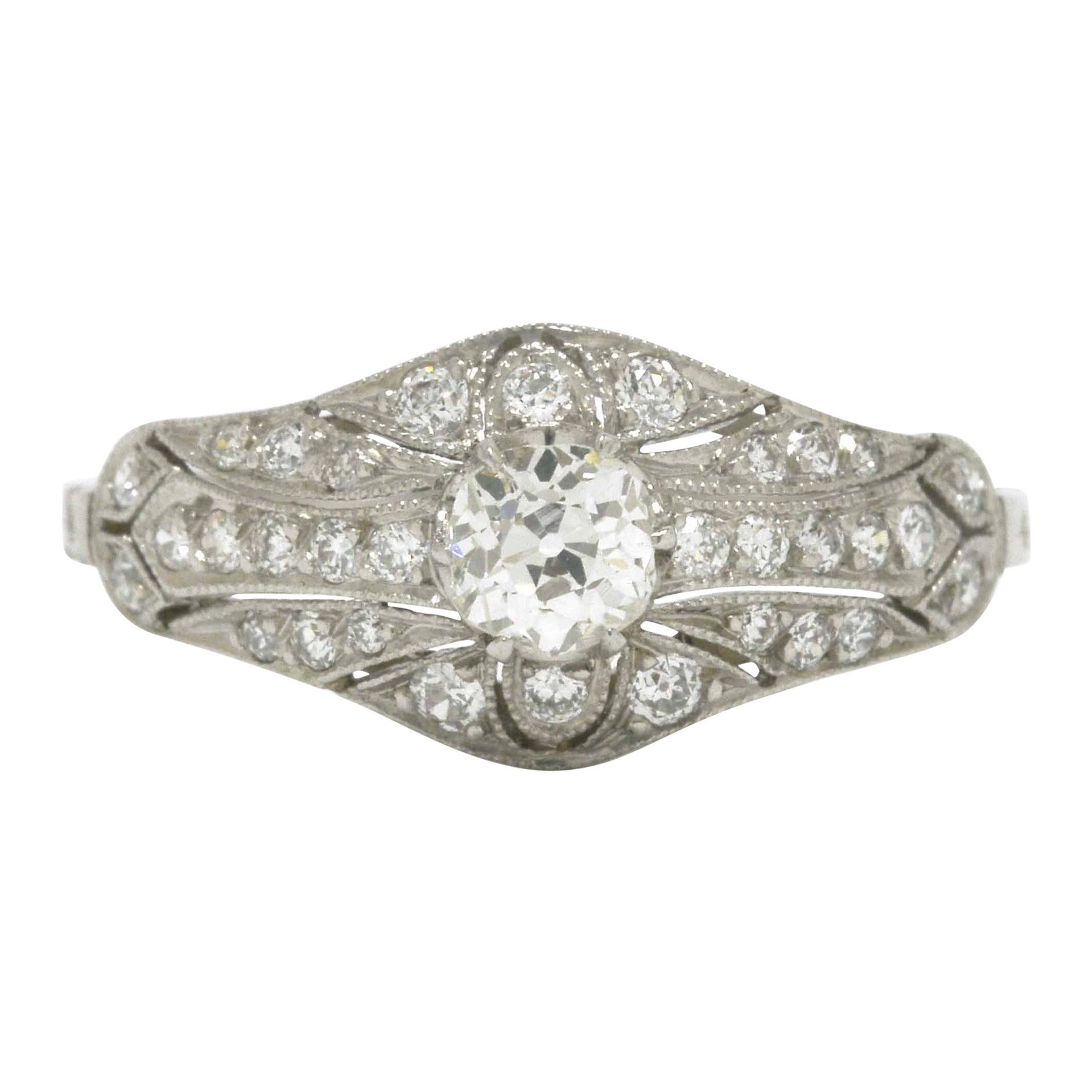 Edwardian Antique Diamond Engagement Ring Filigree Platinum Estate Heirloom