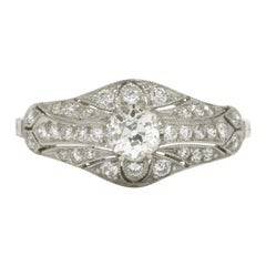 Edwardian Antique Diamond Engagement Ring Filigree Platinum Estate Heirloom