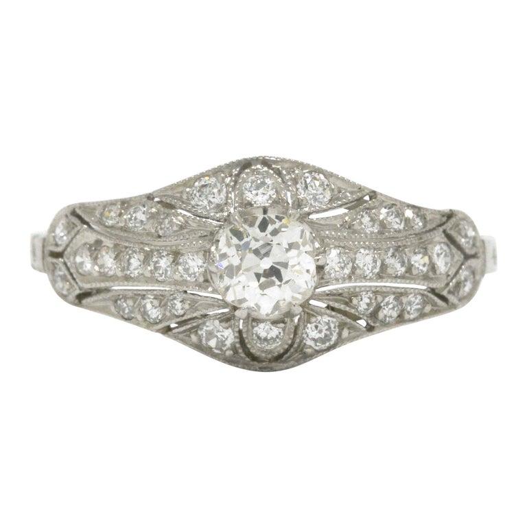 Edwardian Antique Diamond Engagement Ring Filigree Platinum Estate Heirloom For Sale