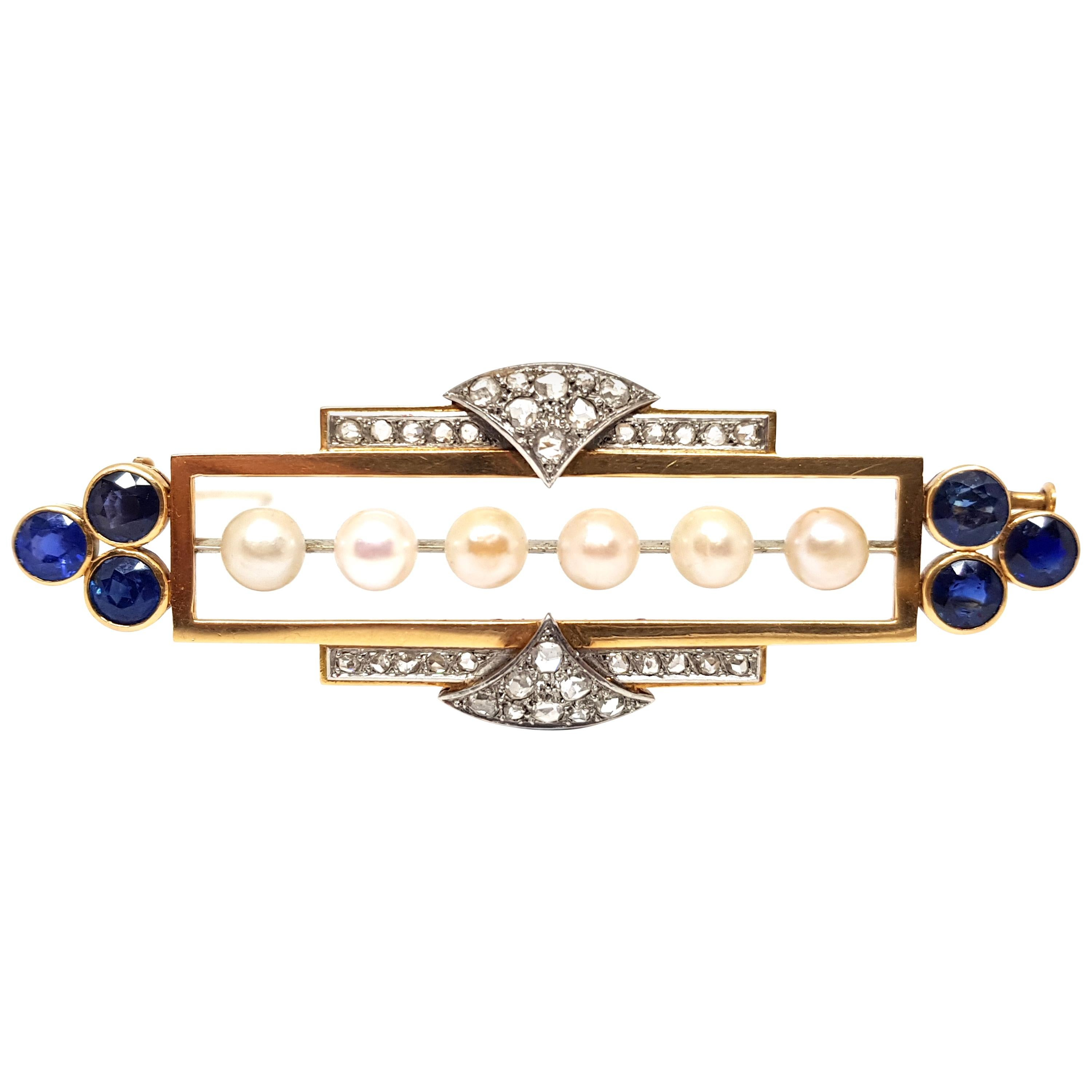 Edwardian Antique Diamond Sapphire Pearl Brooch