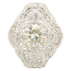Edwardian Antique Platinum 2.21 Carat Old European Cut Diamond Ring Intricate