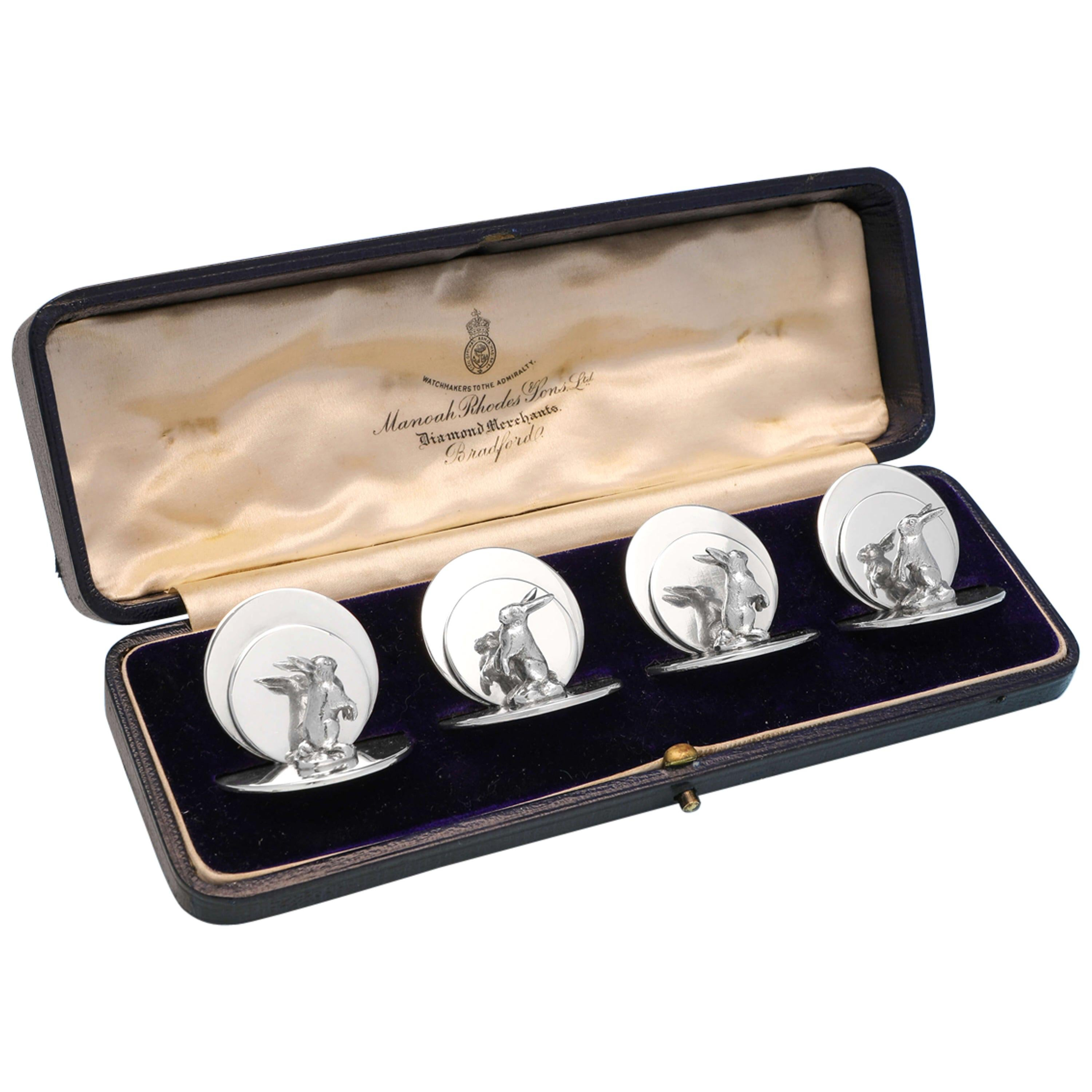 Edwardian Antique Set of Four Sterling Silver Menu Holders with Rabbits, 1909
