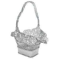 Edwardian Antique Sterling Silver Flower Basket, Centrepiece, Elkington, 1907