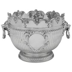 Edwardian Antique Sterling Silver Monteith Bowl by Carringtons, London, 1904