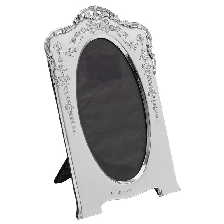 Edwardian Antique Sterling Silver Photograph Frame from 1905 For Sale