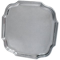 Edwardian Antique Sterling Silver Salver of Shaped Square Form