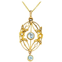 Edwardian Aqua and Pearl 15 Carat Gold Pendant