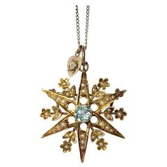 Edwardian Aqua and Pearl 9 Carat Gold Star Brooch or Pendant