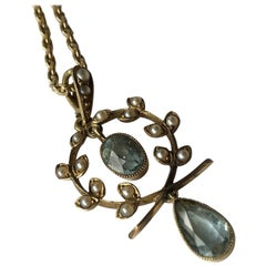 Edwardian Aquamarine and Pearl 9 Carat Gold Necklace